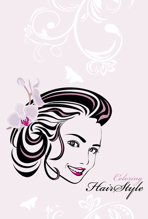 Beautiful woman with orchid in hair  Coloring hairstyle Vector