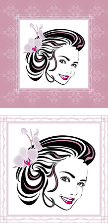 Portrait of a beautiful woman with orchid in hair  Ornamental frame Vector