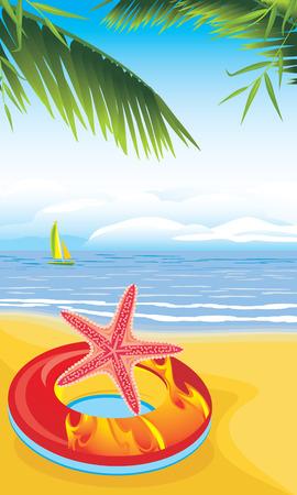 Lifebuoy with starfish on the sandy beach Vector
