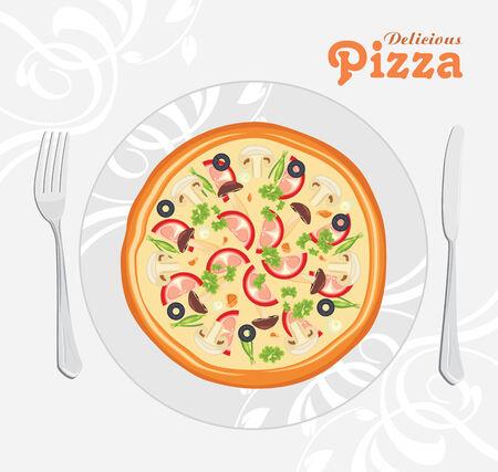 Delicious pizza Vector