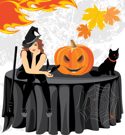 stocky: Halloween witch with a bat, cat and pumpkin sitting on the table
