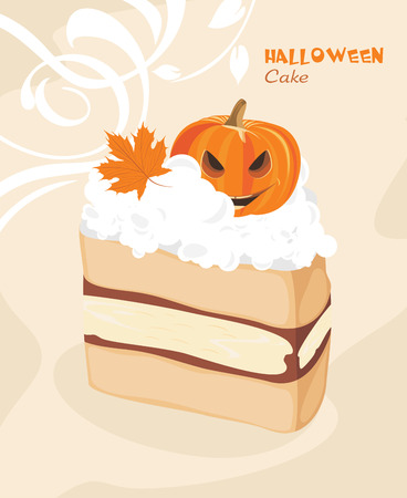 Halloween cake on the decorative background Vector