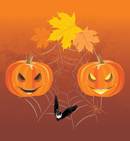 stocky: Halloween pumpkins, spiders and bat. Holiday composition Illustration