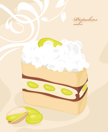 nutty: Cake with pistachios on the decorative background
