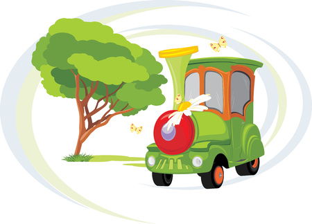 Kids train. Park attraction Vector