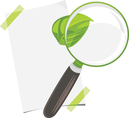Magnifying glass, paper sheet and leaf isolated on the white Vector