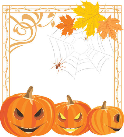 frightful: Halloween pumpkins and spiders in the ornamental frame Illustration