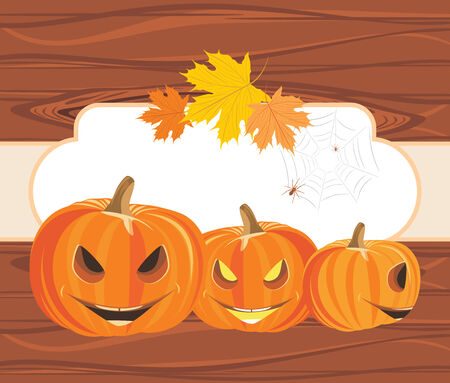 stocky: Halloween pumpkins and spiders on the wooden background with frame