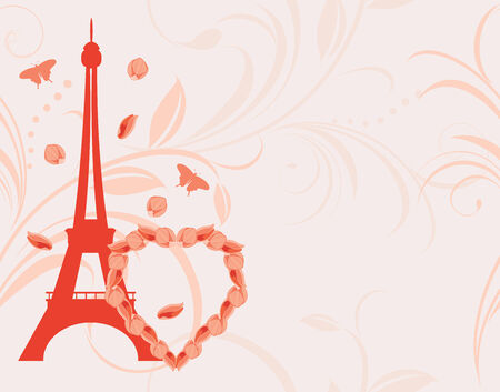 Ornamental pink background with floral heart and Eiffel tower Vector