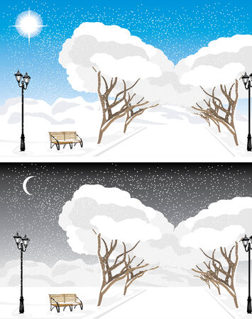 Winter park in the evening and daytime Vector
