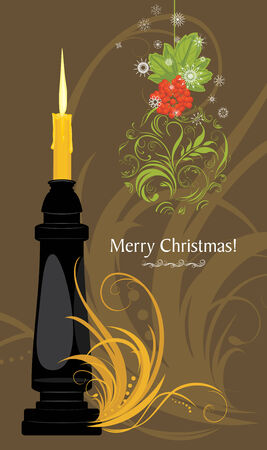 waxen: Christmas candle and ornamental ball. Christmas card Illustration