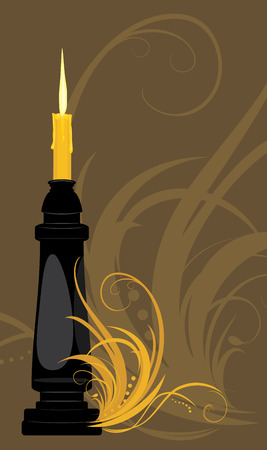 waxen: Burning candle on the decorative background