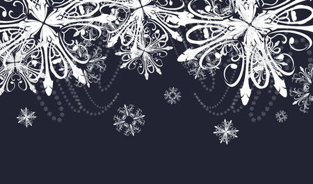 Abstract dark background with snowflakes Vector
