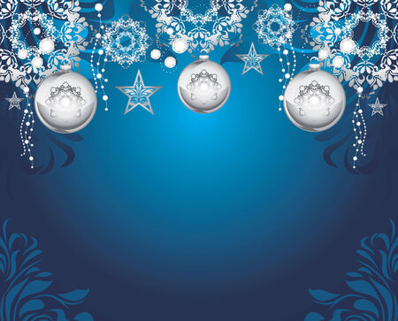 silvery: Silvery Christmas toys on dark blue decorative background Illustration