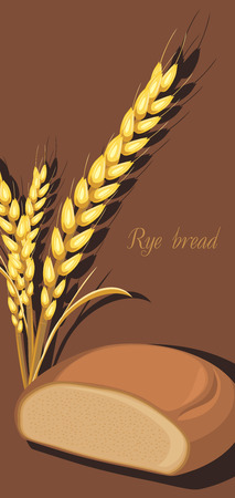Rye bread and wheat ears. Label for wrapping