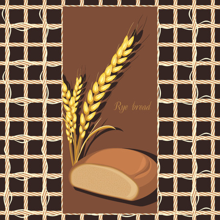 deliciously: Rye bread and wheat ears on the abstract background. Label Illustration