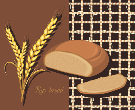 rye bread: Rye bread and wheat ears. Label for design Illustration
