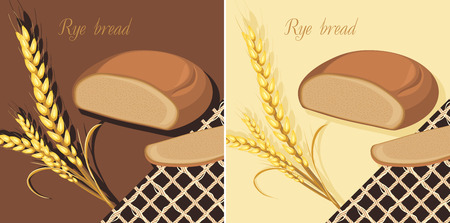 deliciously: Rye bread and wheat ears. Labels for design Illustration