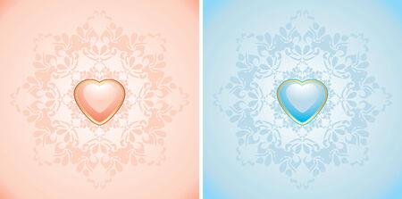 corazones azules: Elementos decorativos con corazones de color rosa y azul Vectores