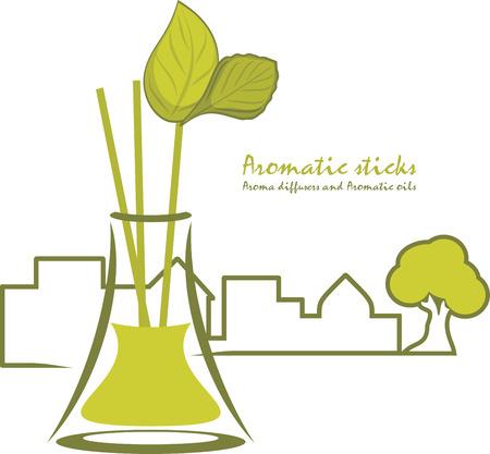 Aromatische stokken. Aroma diffusers en aromatische oliën