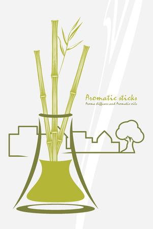 aromatique: B�tons de bambou aromatiques. diffuseurs d'ar�me et des huiles aromatiques Illustration