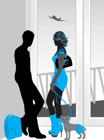 acquaintance: Man and woman talking at a airport terminal