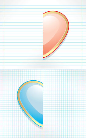 paper sheet: Paper sheet with pink and blue hearts Illustration