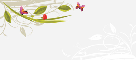 burgeon: Decorative floral background with butterflies