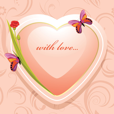 Pink heart with flowers and butterflies on the ornamental background Illustration
