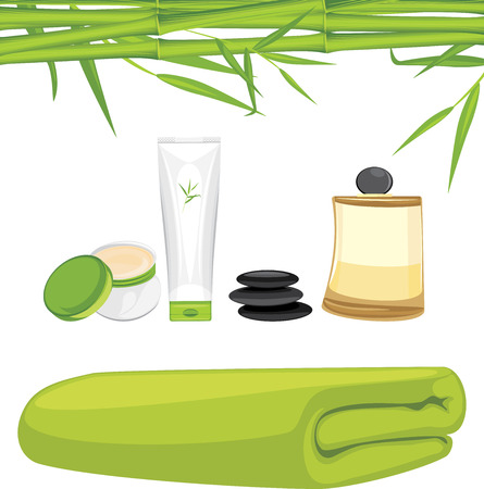 aromatic: Aromatic oil, bamboo bath towel, cream and lotion isolated on the white