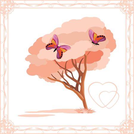 love tree: Love tree with butterflies in ornamental frame
