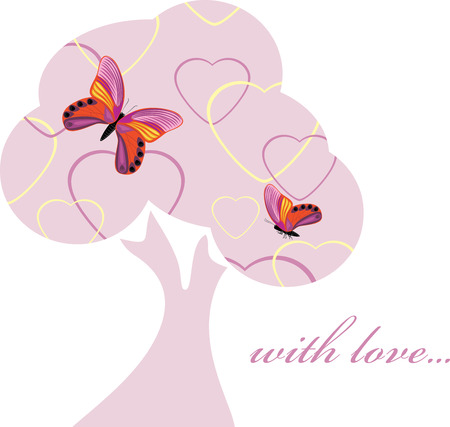 love tree: Love tree with butterflies. Decorative element to the Valentines Day Illustration