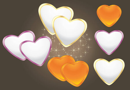 dark brown background: Shining hearts on the dark brown background Illustration