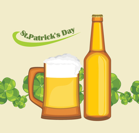 nonalcoholic beer: Beer mug and bottle on the seamless background with clover leaves