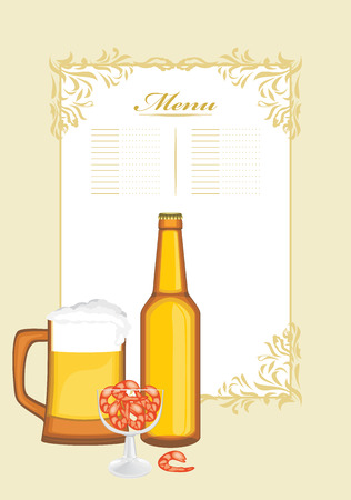 krill: Beer with shrimps. Menu template