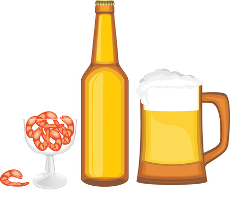 nonalcoholic beer: Beer with shrimps Illustration