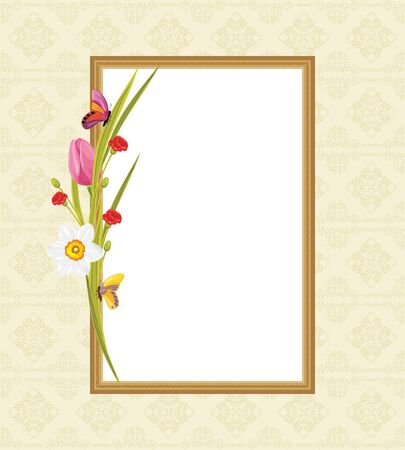 jonquil: Decorative frame with spring flowers and butterflies. Greeting card