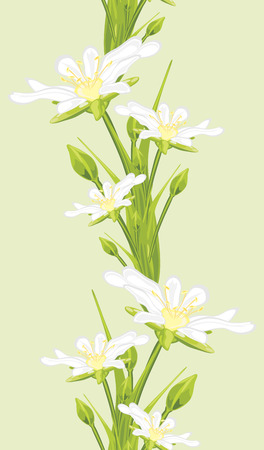 Seamless border with white spring flowers Vector