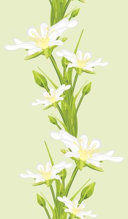 burgeon: Seamless border with white spring flowers