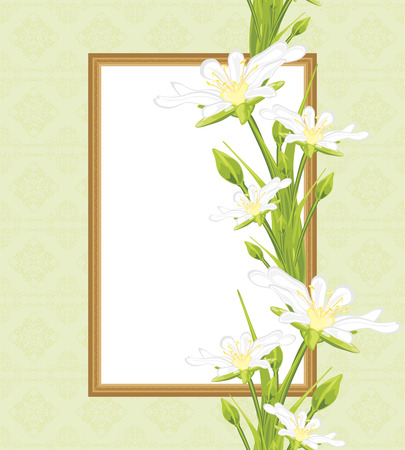 Decorative frame with white spring flowers. Greeting card Vector