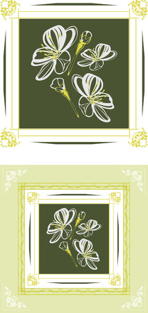 ornamental frames: Ornamental frames with stylized blooming cherry Illustration