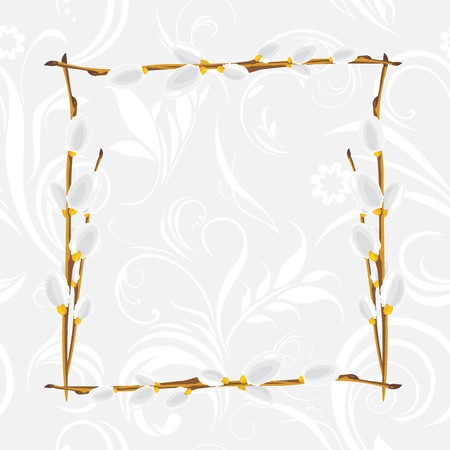 pussy willow: Light gray ornamental frame with pussy willow branch