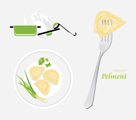 chive: Flavored pelmeni. Template for menu design Illustration