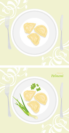 chive: Flavored pelmeni. Labels for menu design