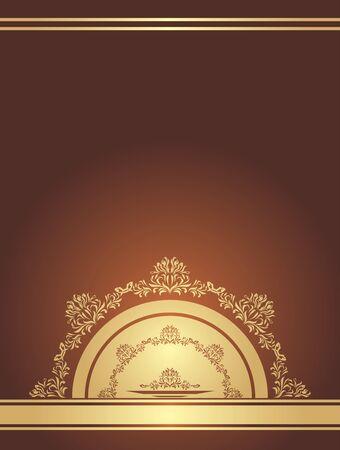 Golden ornamental element on a dark brown background