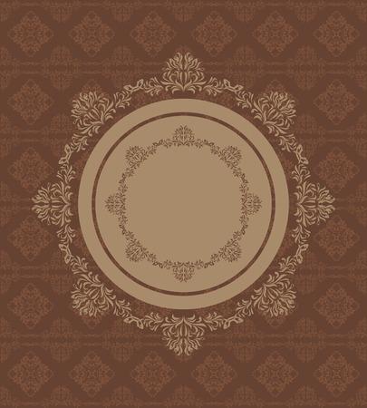 dark brown background: Ornamental circular element on a seamless dark brown background