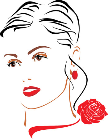 perfect female body: Portrait of a beautiful woman with a red rose on her neck Illustration
