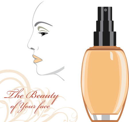 woman face cream: Cosmetic liquid foundation cream. The beauty of Your face