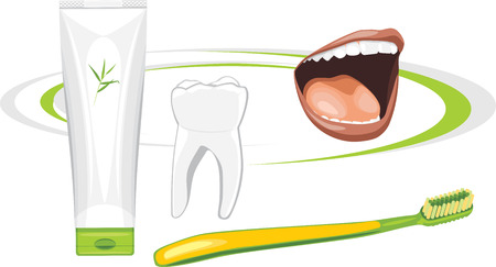 carious: Organic toothpaste. Healthy teeth Illustration