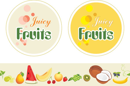 juicy: Juicy fruits. Labels and border for design